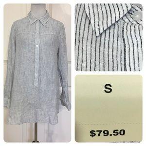 NWT! Lucky Brand striped linen blend blouse